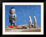 Astronaut Figurines Meeting Space Robot