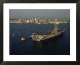 Aircraft Carrier with Skyline of San Diego  California