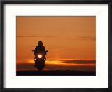 Silhouetted Motorcyclist at Sunset  Marin City  CA