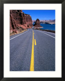 Road with Lake Powell in Distance Glen Canyon National Recreation Area  Utah  USA