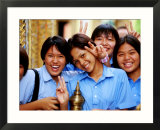 Schoolgirls at Wat Pho Celebrating Buddha Day  Ratanakosin  Bangkok  Thailand