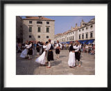 Tourist Board Folk Dancers in Lusa Square  Dubrovnik  Dalmatia  Croatia