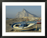 Boats Pulled onto Beach Below the Rock of Gibraltar  Gibraltar