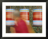 Buddhist Monk Passing Prayer Wheels  Mcleod Ganj  Dharamsala  Himachal Pradesh State  India  Asia