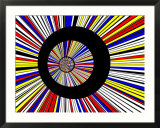 Abstract Fractal Design with Black Circles on Blue  Red  and Yellow Background
