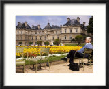 People Relaxing in Chairs in Jardin Du Luxembourg  Paris  France