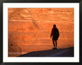 Silhouette of Hiker in Padre Bay  Lake Powell  Utah  USA