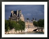Fishermen on Banks of River Seine with the Louvre in Background  Paris  Ile-De-France  France