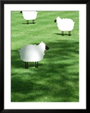 Sheep on Lawn as Decoration  Perfect Striped Lawn