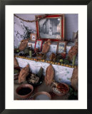 Day of the Dead Home Altar with Mole and Bread  Oaxaca  Mexico