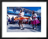 Girl Dancers in Costumes and Masks During Festival Parade  Chinceros  Peru