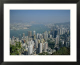 Aerial View of Hong Kong Harbour  China