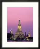 Temple of Dawn and Chao Phraya River  Night View  Bangkok  Thailand