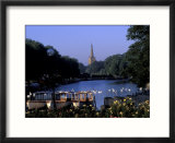 Holy Trinity Church and Barges on River Avon  Stratford-on-Avon  England
