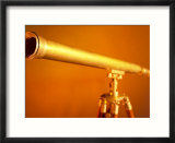 Antique Brass Telescope in Orange Light