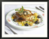 Plate of Tasty Mushroom Sauce in Fresh Phyllo Pastry