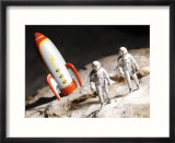 Model Astronauts Standing by Rocket on the Moon