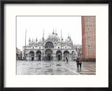 St Mark's Church and Bell Tower and Adult Couple Walking in the Piazza San Marco