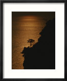 A Cinque Terre cliffside silhouetted against the sun-reflected sea