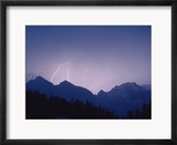 Lightning over mountains  Berchtesgaden National Park  Germany