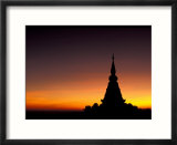 Sunset Sillouhette of Buddhist Temple  Thailand