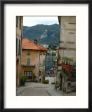 Cobblestone Street Down to Waterfront  Lake Orta  Orta  Italy