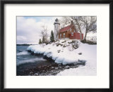 Winter Morning Light on Eagle Harbour Lighthouse on Lake Superior  Michigan  USA
