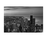 Chicago Aerial North View In BW