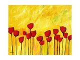 Red Flowers On Yellow