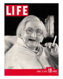 English Centenarian Smoking a Cigarette  April 12  1937