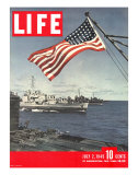 American Flag over US Ships at Sea  July 2  1945