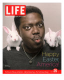 Happy Easter  Comic Actor Bernie Mac with White Rabbits on Shoulders  March 25  2005