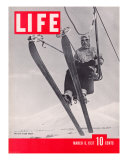Skier Riding the Chair Lift at Sun Valley Ski Resort  March 8  1937