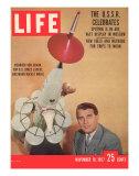 Scientist Wernher Von Braun with Model of Moon Rocket He Designed  November 18  1957