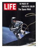 Astronaut Ed White in Space  Tethered to Gemini 4 Spaceship  The Space Walk  June 18  1965