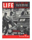 Men Kicking Car of Vice Pres Richard Nixon  South American Goodwill Trip  Venezuela  May 26  1958