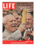 Russian Premier Nikita Khrushchev Holding Up Ear of Corn During Tour of US  October 5  1959