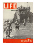 American Troops Wading Ashore from Landing Craft During the Invasion of Salerno  March 27  1944
