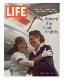 American Pan Am Stewardess Sicari Embracing Russian Aeroflot Stewardess Arutyunova  July 25  1968