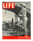 Shorts Clad War Worker Helping Build and Maintain Aircrafts at a California Plant  October 12  1942