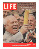 Russian Premier Nikita Khrushchev Holding Up Ear of Corn During Tour of US  October 5  1959