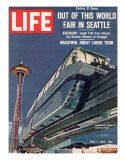 Monorail and Space Needle at World&#39;s Fair in Seattle  May 4  1962