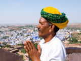 Hindu Man in Blue City of Jodhpur  Fort Mehrangarh  Rajasthan  India