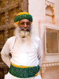 Bearded Guard in Doorway of Fort Palace  Jodhpur  Rajasthan  India
