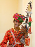 Young Man in Playing Old Fashioned Instrument Called a Sarangi  Agra  India
