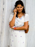 Woman on Cell Phone in Modern New Delhi  India