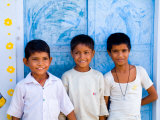 Children Against Blue Wall in Jaipur  Rajasthan  India