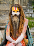 Religious Man at Pashupatinath Holy Hindu Place on Bagmati River  Kathmandu  Nepal