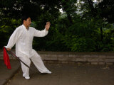 Tai Chi on the Old City Wall  Xi'an  Shaanxi Province  China