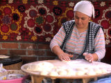 Native Woman Baking Bread in Istanbul  Turkey